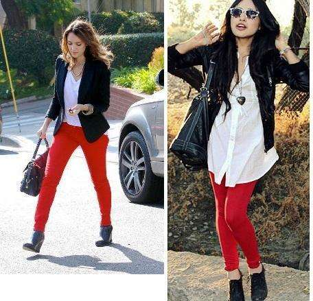 combinar pantalon rojo con blanco