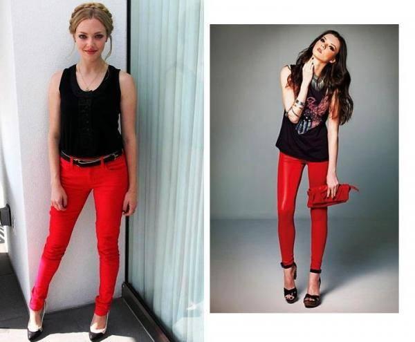 combinar pantalon rojo con negro