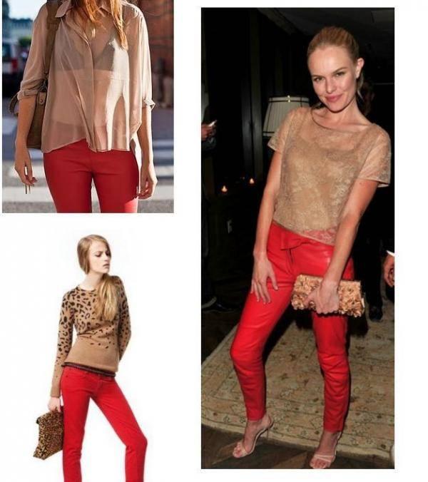 combinar pantalon rojo con nude