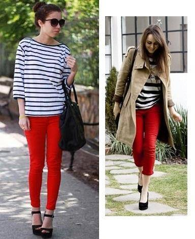 combinar pantalon rojo con rayas