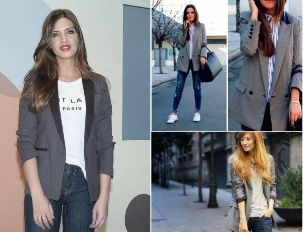 combinar un blazer gris con jeans