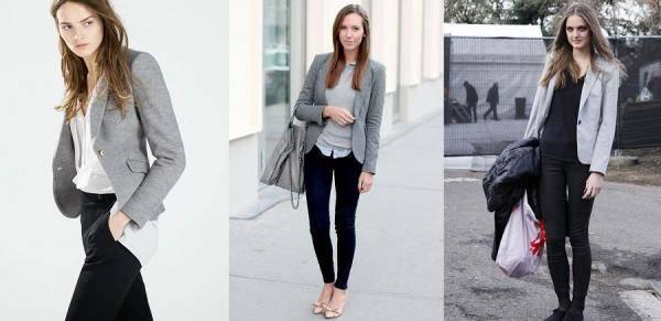 combinar un blazer gris con ropa negra