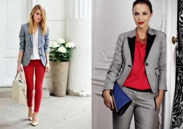combinar un blazer gris con ropa roja