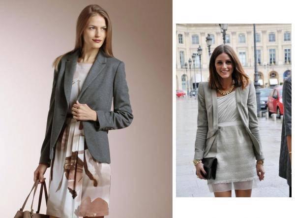 combinar un blazer gris con vestidos