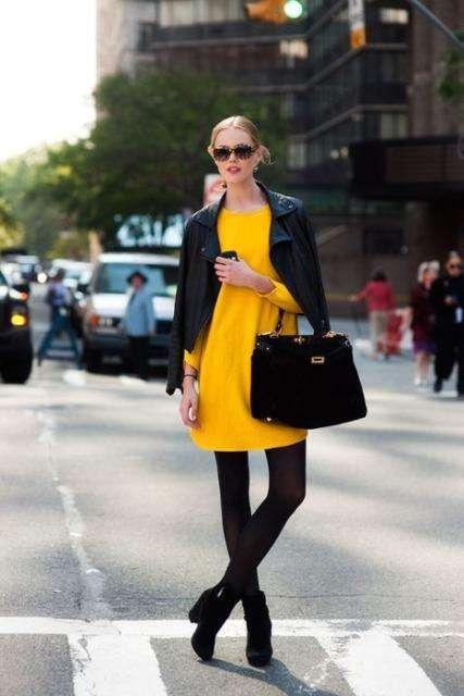 Vestido amarillo combinado con negro