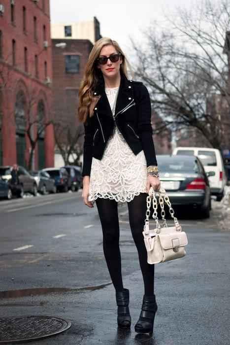 como combinar un vestido blanco con negro