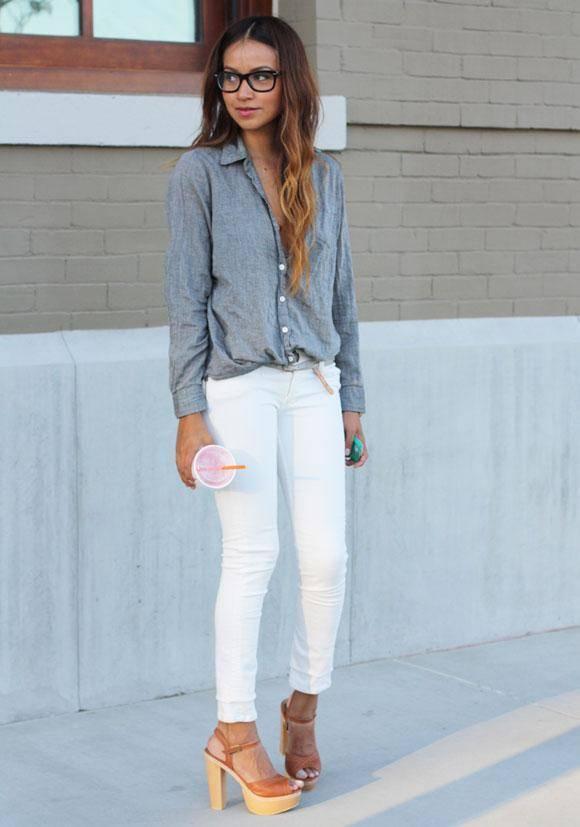 imagenes de como combinar un pantalon blanco