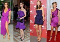 como combinar un vestido morado