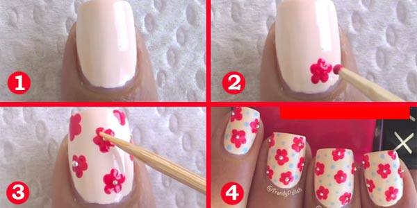 decoracio de uñas con flores
