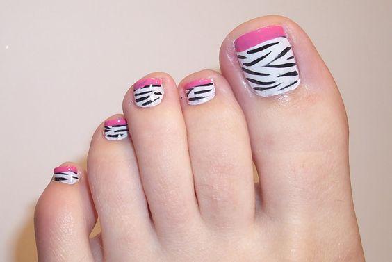 decoracion de uñas de los pies animal print