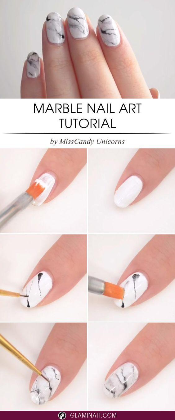 tutorial uñas marmoleadas