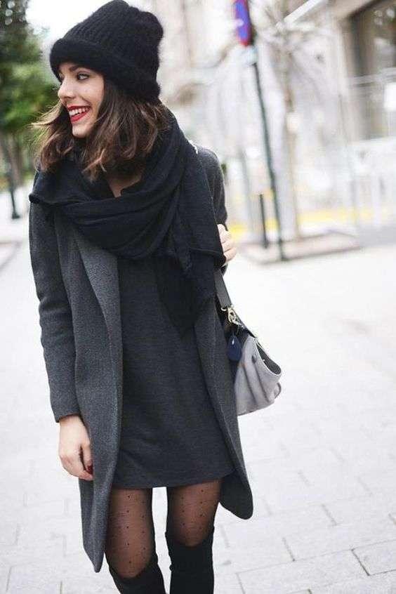 Outfit invierno vestido negro