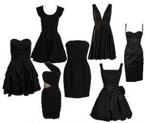 Combinar un vestido negro de noche