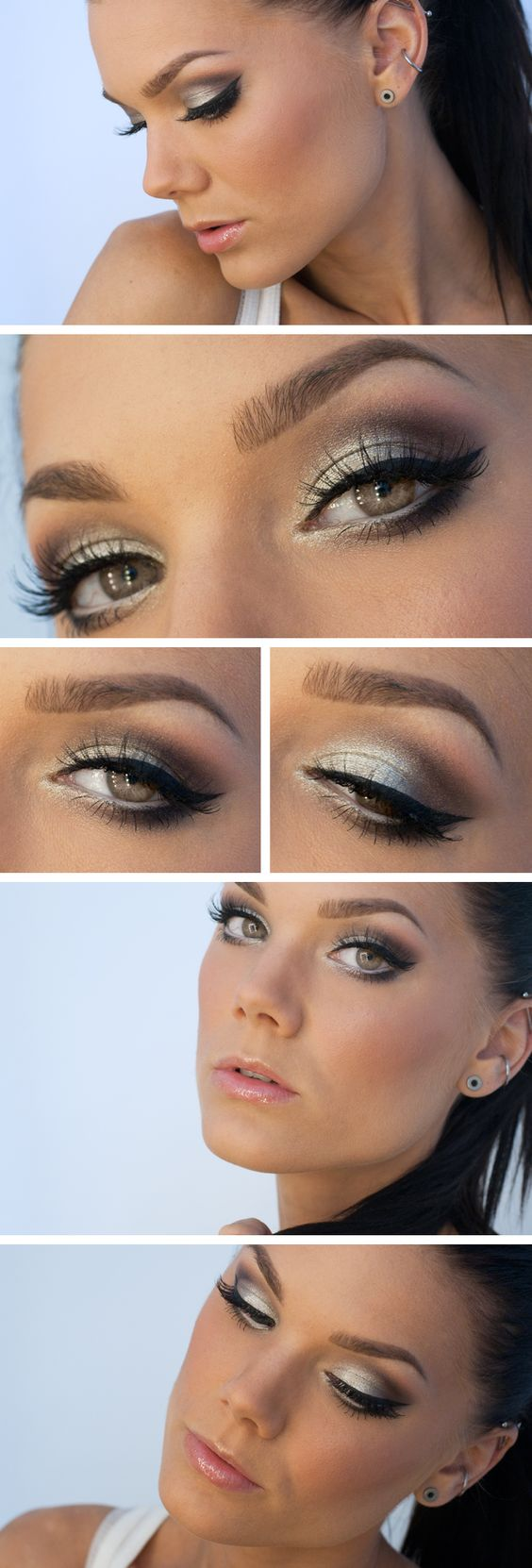 Maquillaje de ojos de noche para vestido blanco