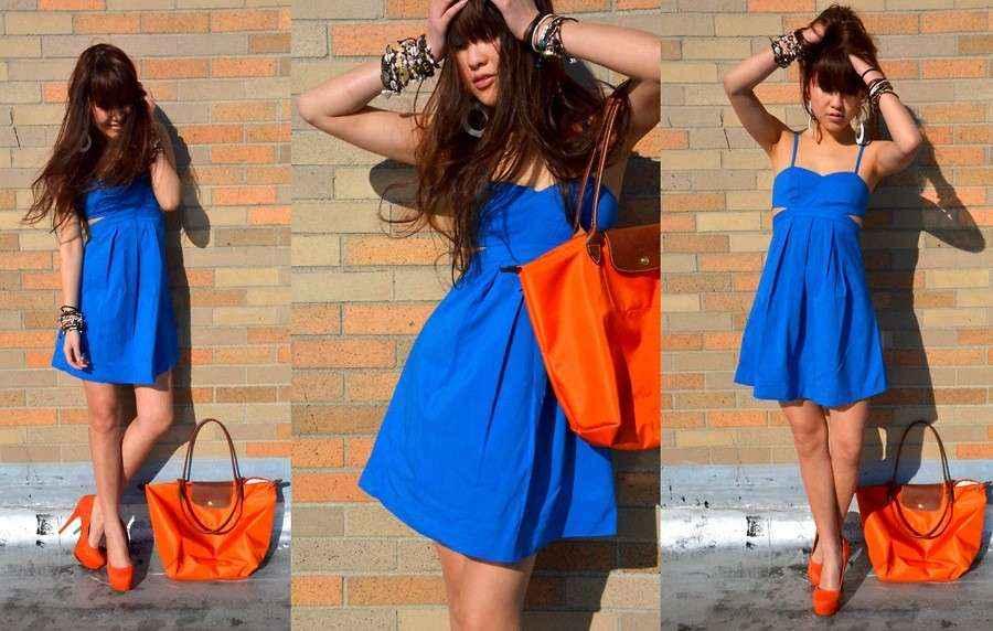 Vestido azul electrico zapatos